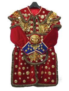 털 장군복 (반 비늘)-쇠, 비닐)- 모자 포함 (빨강)